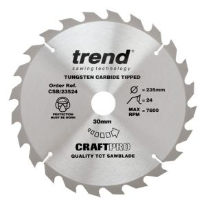 Trend 235mm dia 30mm Bore ATB Z=24 TCT Table / Rip Saw Blade CSB/23524