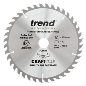 Trend 235mm dia 30mm Bore ATB Z=40 TCT Table / Rip Saw Blade CSB/23540