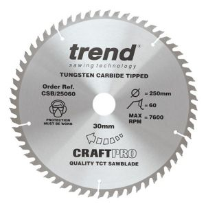 Trend 250mm dia 30mm Bore ATB Z=60 TCT Fine Finish Table / Rip Saw Blade CSB/25060