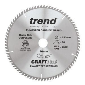 Trend 250mm dia 30mm Bore ATB Z=80 TCT Table / Rip Saw Blade CSB/25080