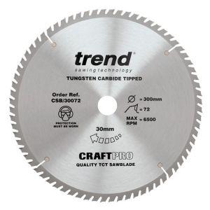 Trend 300mm dia 30mm Bore ATB Z=72 TCT Table / Rip Saw Blade CSB/30072