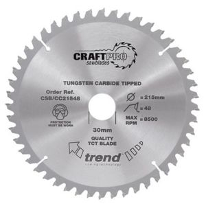Trend 215mm dia 30mm Bore ATB Z=48 Negative Crosscut Saw Blade CSB/CC21548