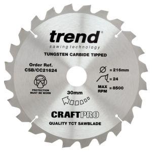 Trend 216mm dia 30mm Bore ATB Z=24 Negative Crosscut Saw Blade CSB/CC21624