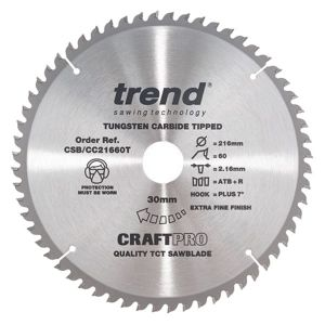 Trend 216mm dia 30mm Bore ATB Z=60 Thin Positive Crosscut Saw Blade CSB/CC21660T