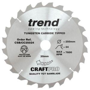 Trend 254mm dia 30mm Bore ATB Z=24 Thin Negative Crosscut Saw Blade CSB/CC25424T