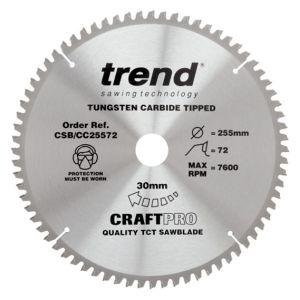 Trend 255mm dia 30mm Bore ATB Z=72 Negative Crosscut Saw Blade CSB/CC25572
