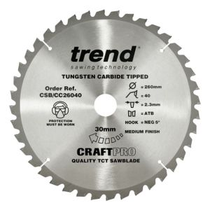 Trend 260mm dia 30mm Bore ATB Z=40 Negative Crosscut Saw Blade CSB/CC26040