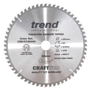 Trend 260mm dia 30mm Bore ATB Z=60 Negative Crosscut Saw Blade CSB/CC26060