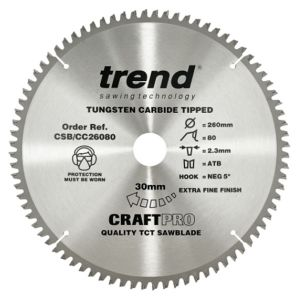 Trend 260mm dia 30mm Bore ATB Z=80 Negative Crosscut Saw Blade CSB/CC26080
