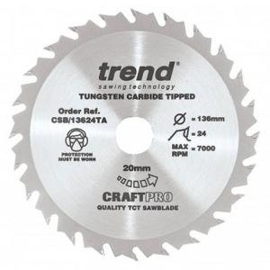 136mm Z=24 Id=20 Trend Craftpro Combination Saw Blade Thin Kerf