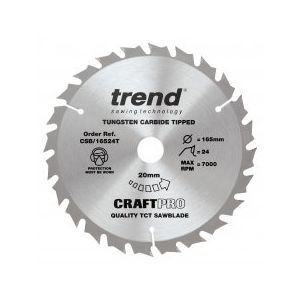 Trend Craft Pro 165mm dia 20mm bore 24 tooth combination cut thin kerf saw blade