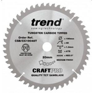 Trend 190mm dia 20mm Bore ATB Z=48 Negative Crosscut Saw Blade CSB/CC19048T
