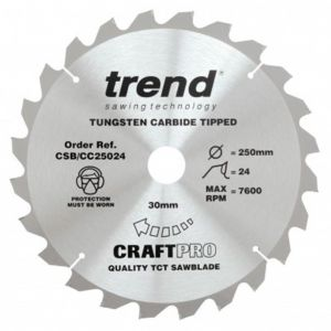 Trend Craft Pro 250mm Dia 30mm Bore 24 Tooth Crosscut Saw Blade(Thin)