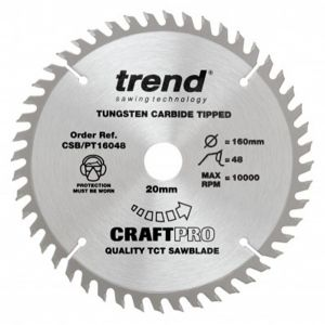 Trend Craft Pro 160mm Dia 20mm Bore 48 tooth Super Fine Finish Plunge/Panel Saw Blade