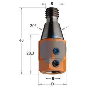 CMT Multi Borer Drill Adaptor Chuck 8mm Bore S=M10/30° R/H 303.080.01
