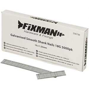 10mm x 1.25mm 18G Fixman Galvanised Smooth Shank Nails 5000pck 298788