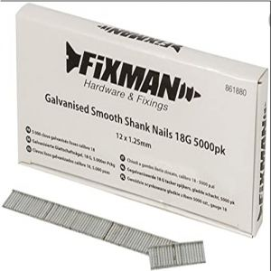 12mm x 1.25mm 18G Fixman Galvanised Smooth Shank Nails 5000pck 861880