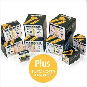 Reisser R2 Wood Screw Trade Pack 1,600pcs + 10 Pozi Bits