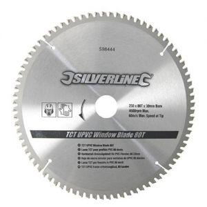 Silverline 250 dia x 30mm Bore Z=80 TCT UPVC Window Saw Blade - 25,20,16mm Reducer Rings.