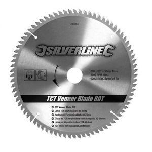 Silverline 250 x 30mm bore Z=80 TCT Veneer Blade including 25,20 & 16mm Reduction Rings SBTRI25080SL