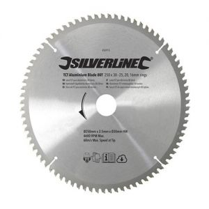 Silverline 250 dia x 30 bore Z=80 Aluminum TCT Saw Blade including 25,20,16mm Reduction Rings SBALUTRI25080SL.