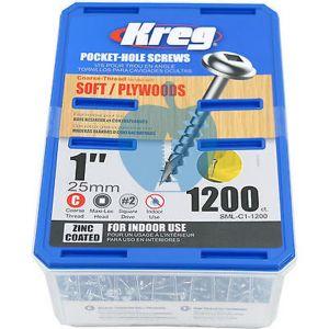1200 SCREWS 1 Inch KREG Pocket Hole Washer Heads SML-C1 25mm
