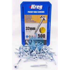 500 SCREWS 1 1/4 Inch KREG 32mm Fine Thread Washer Heads SML-F125
