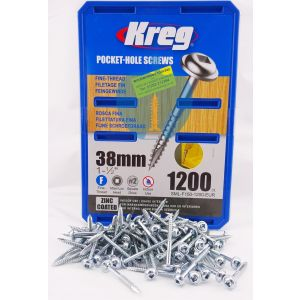 1,200 SCREWS 1 1/2 Inch KREG 38mm Fine Thread Washer Heads SML-F150