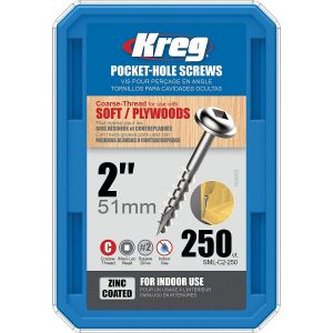 250 Kreg Screws 51mm (2 inch) Coarse Thread Washer Head SML-C2