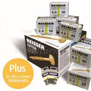 Reisser CUTTER Trade Pack 1,600pc Wood Screws + 20 Pozi Bits