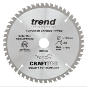 Trend 160mm dia 20mm bore Z=52 Negative Aluminium & Plastic Saw Blade CSB/AP16052