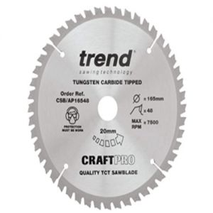 Trend 165mm dia 20mm bore Z=48 Negative Aluminium & Plastic Saw Blade CSB/AP16548