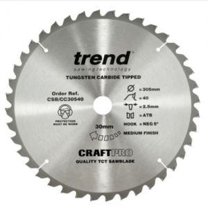 Trend 305mm dia 30mm bore ATB Z=40 Negative Crosscut Saw Blade CSB/CC30540