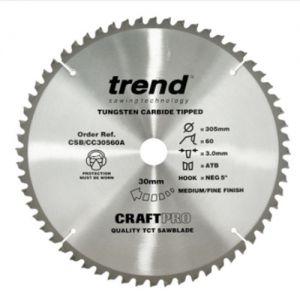 Trend 305mm dia 30mm bore ATB Z=60 Negative Crosscut Saw Blade CSB/CC30560A