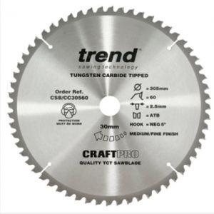 Trend 305mm dia 30mm bore ATB Z=60 Positive Crosscut Saw Blade CSB/CC30560T