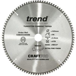 Trend 305mm dia 30mm bore ATB Z=96 Negative Crosscut Saw Blade CSB/CC30596