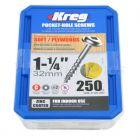 250 Kreg screws 32mm (1inch 1/4) Coarse Thread Washer Head SML-C125