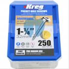 250 SCREWS 1 1/4 Inch KREG 32mm Fine Thread Washer Heads SML-F125