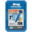 250 SCREWS 2 Inch KREG Pocket Hole Washer Heads SML-C2B 50mm