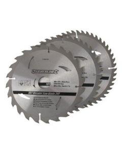 3 pack 200mm Silverline TCT Circular Saw Blades 749249