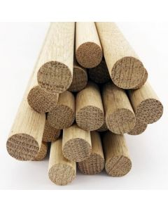 100 pcs 5/8 Dia Oak Dowel Rods 12 Inches (15.87 x 300mm) Long Imperial Size