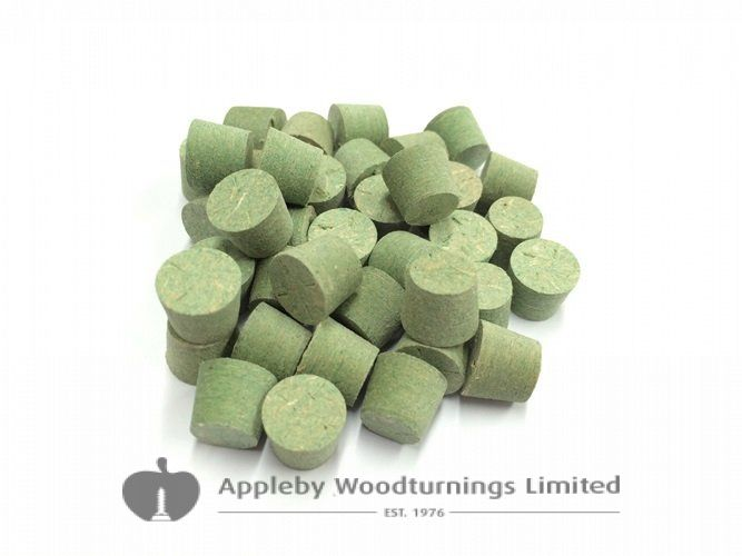 "3/8"" Green MDF Tapered Wooden Plugs 100pcs"