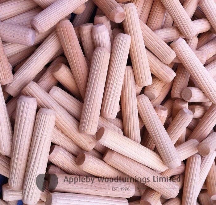 10 x 40mm Premium Hardwood Fluted Dowel Pins 100pcs