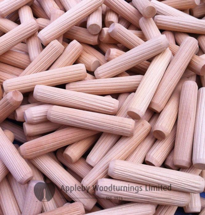 10 x 50mm Premium Hardwood Fluted Dowel Pins 100pcs