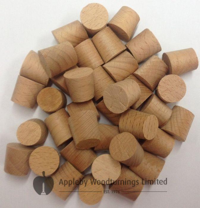 "1/2"" Dark Beech Tapered Wooden Plugs 100pcs"