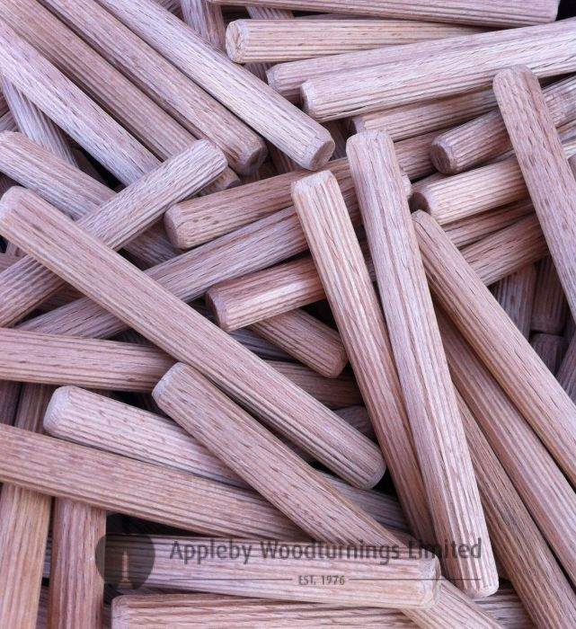 12 x 115mm Premium Hardwood Fluted Dowel Pins 100pcs