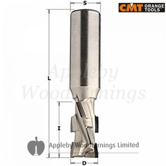 25mm dia x 27mm cut CNC PCD Diamond Spiral Router With Shear Angle Z=2+2 S=25mm R/H CMT