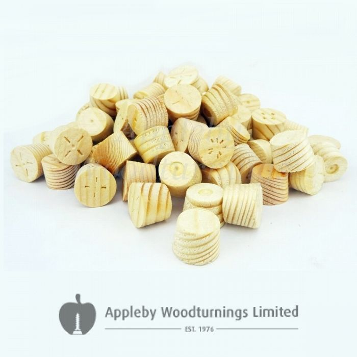 14mm Softwood / Pine Tapered Wooden Plugs 100pcs