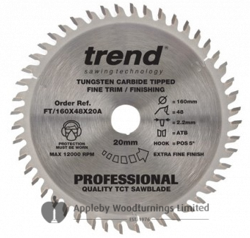 160mm dia Z=48 Id=20 TREND Industrial Hand Held / Portable Saw Blade To Fit Festool TS55
