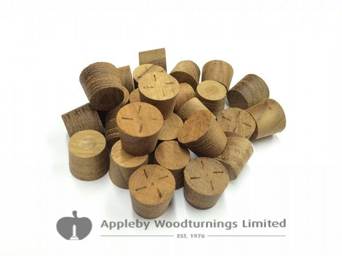 "3/8"" Teak Tapered Wooden Plugs 100pcs"